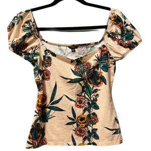 Guess  floral print  tan size S shirt
